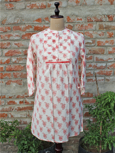 Cotton Women Tunic Red Paisley