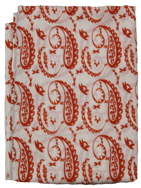Paisley White Color Hand Block Printed Fabric.