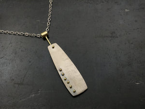Pinned Rectangular Necklace with 18K Yellow Gold