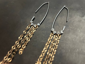 Drop hoops with gold shoulder dusters