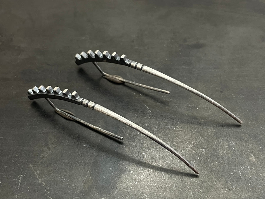 Fusion Earrings Spikes Down - long