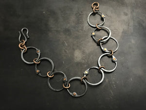 Clutch Link Bracelet with rose gold