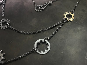 Gear Necklace with 18k Accent