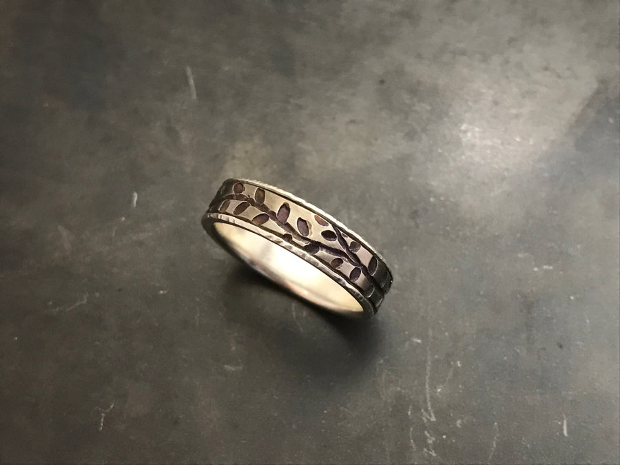 Titanium Vines Band with Sterling Silver Liner
