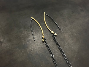 Gold single drop hoops shoulder dusters