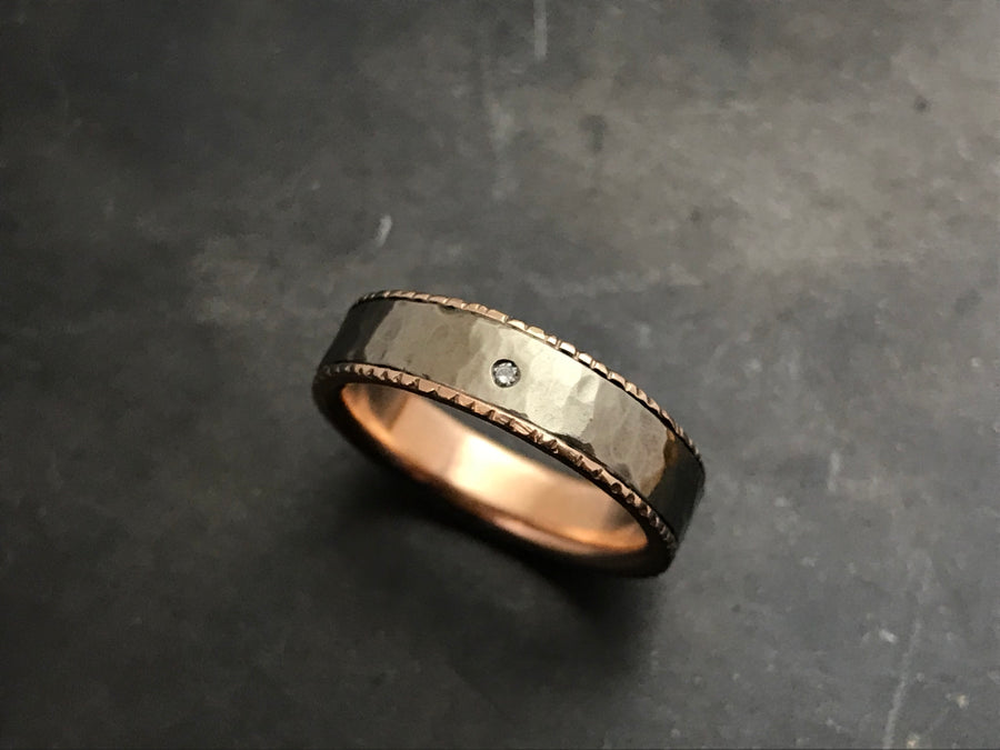 Titanium Hammered Band with 14K Rose Gold Liner and Diamond