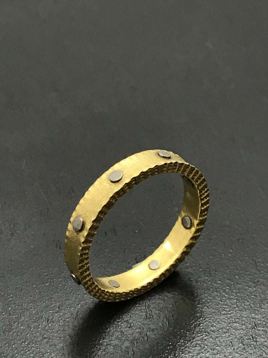 18K Gold Band with Rivets
