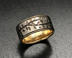Titanium Diamond Vines Band with 14K Yellow Gold Liner