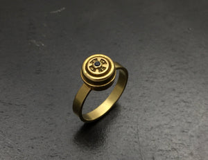 Gold Petal to the Metal Ring with Blue Sapphire