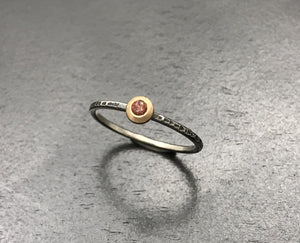 Oregon Sunstone Stacking Ring - Hammered