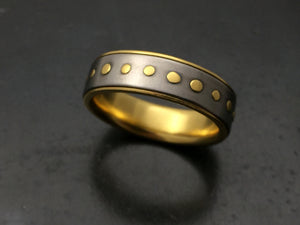 Titanium Band with 18k Yellow Gold Rivets and Liner