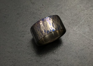 Titanium Wide Hammered Band