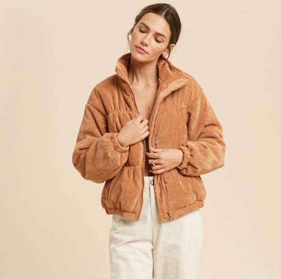 Ribbed teddy bear jacket (camel)