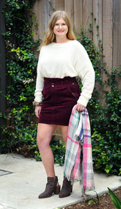 BURGUNDY CORDUROY BAG SKIRT