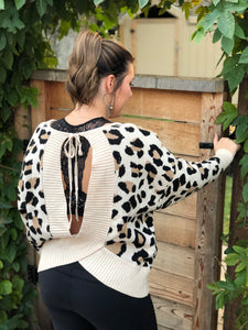 CHEETAH GIRL OPEN BACK SWEATER