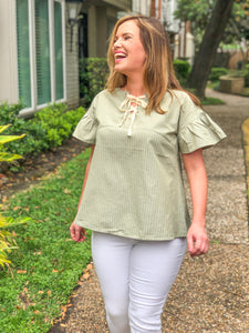 LINEN LACE UP TOP