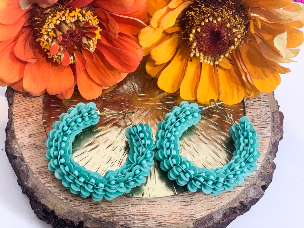 HOOP DE HOOP EARRINGS - TURQUOISE