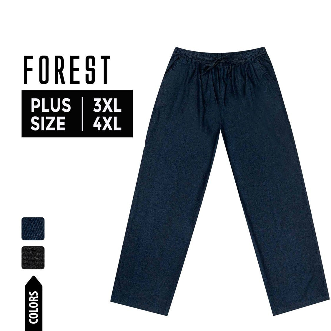 Plus Size Casual Denim Long Pants - 10620