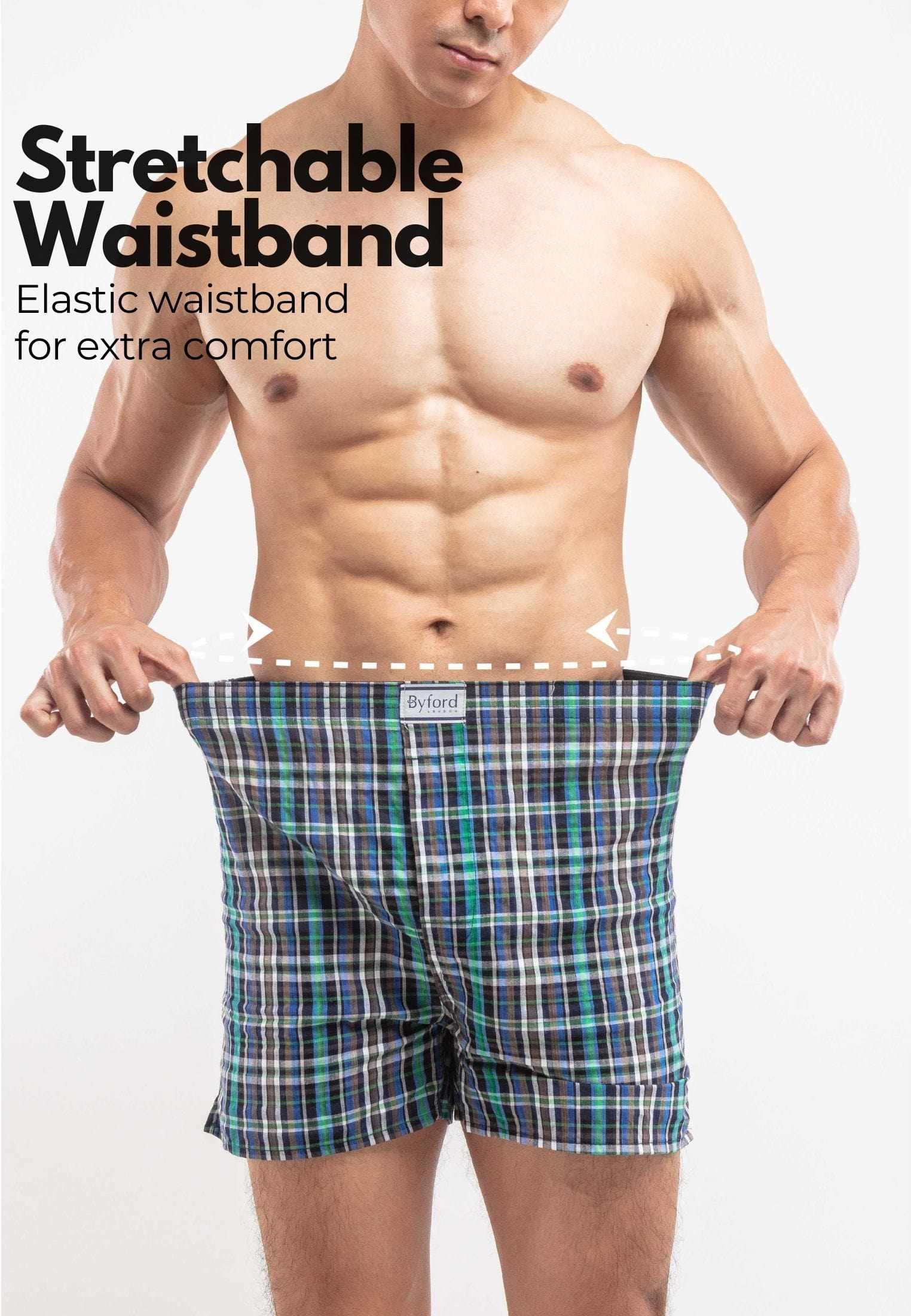 Underwear Woven Checks Boxer (3 Pieces) Assorted Colour - BUD5158X