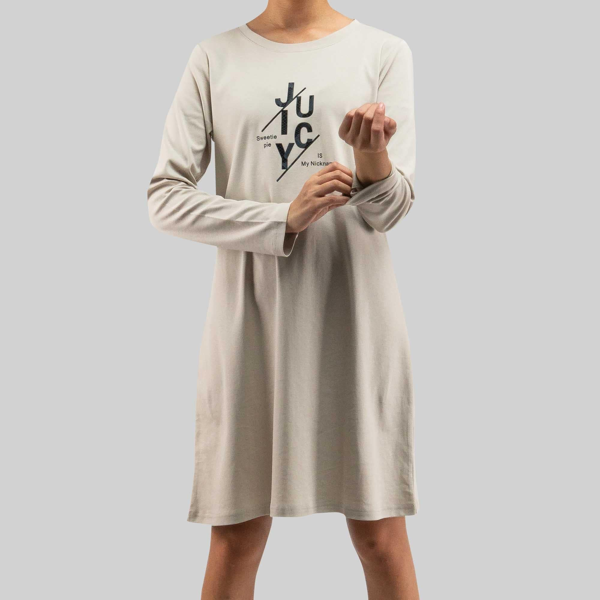 Long Sleeve Round Neck Dress - 821938