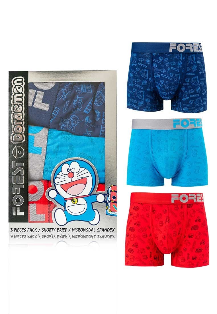 Doraemon Micromodal Spandex Shorty Briefs ( 3 Pieces ) Assorted Colours - DUD0012S