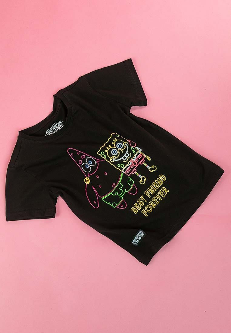Forest X Spongebob Kids Special Embroidered & Neon Printed Tee Short Sleeve Tee - FSK2010