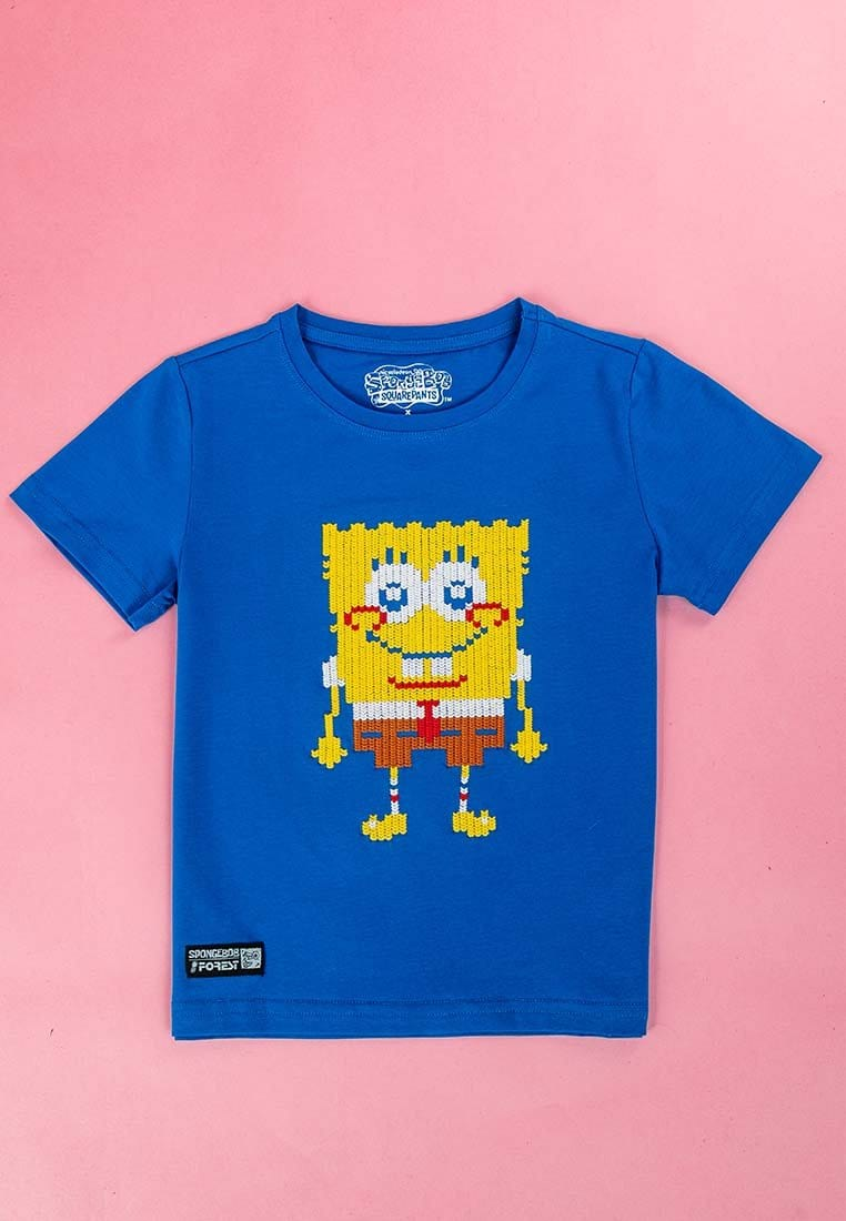 Forest X Spongebob Kids Special Embroidered stitching Short Sleeve Tee - FSK2009