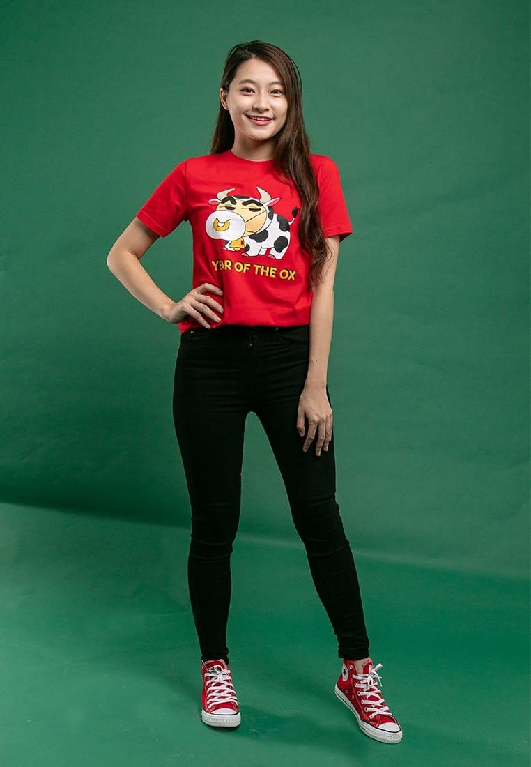 "Shinchan CNY "" Year of the OX "" Printed Round Neck Tee - FC820029"