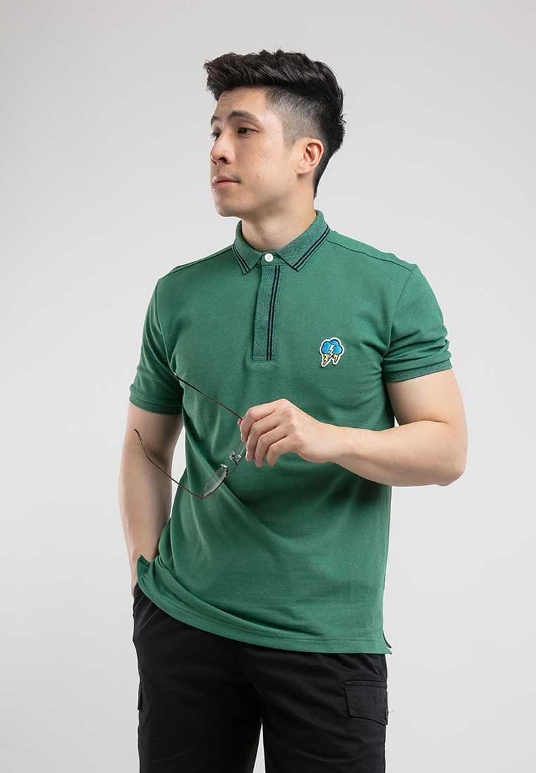 Two Tone Pique Embroidery Slim Fit Polo - 23294