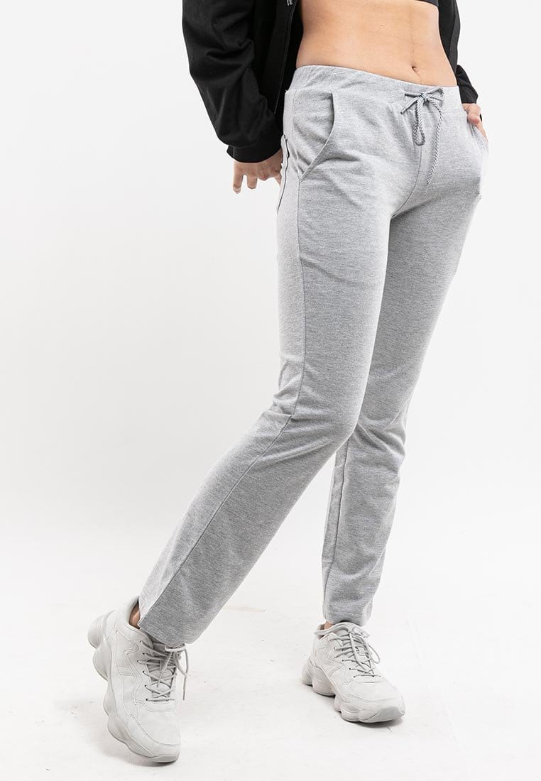 Ladies Straight Cut Plain Elastic Cotton Long Pant - 810437