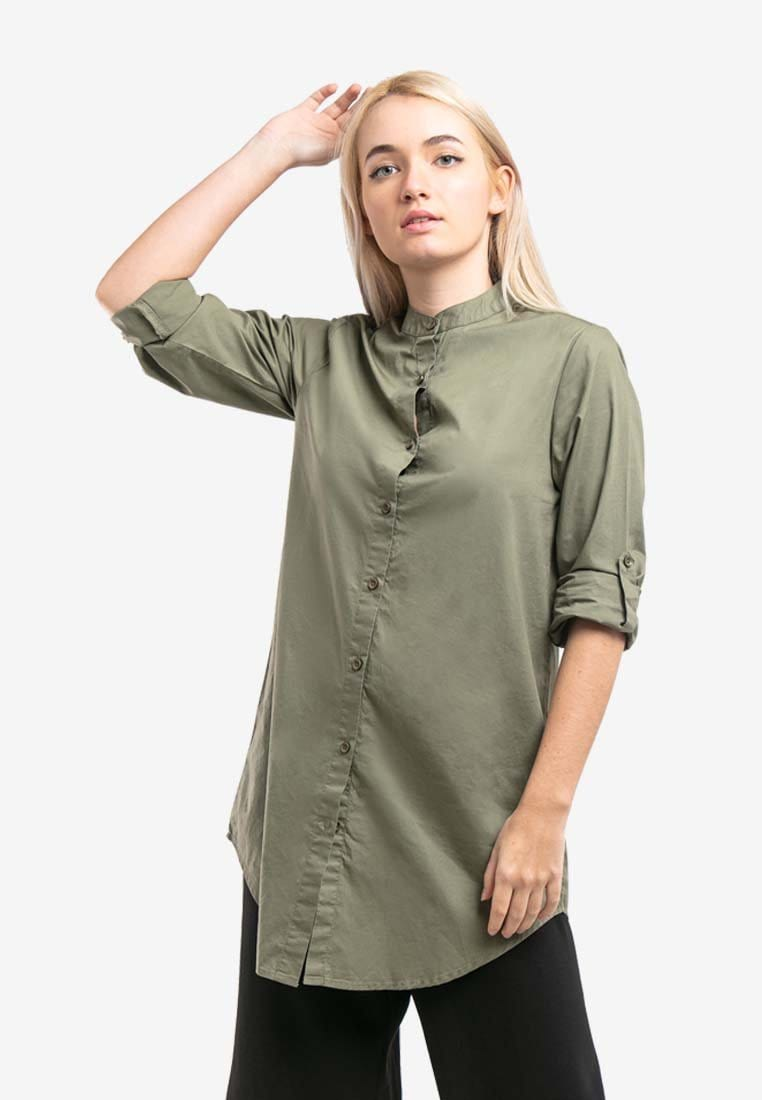 Ladies Woven Long sleeve Mandarin Collar Long Length Shirt - 822017