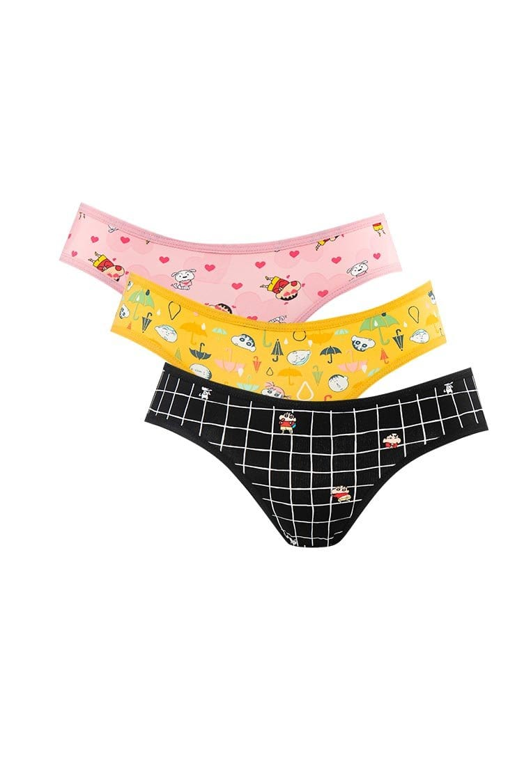 Shinchan Microfiber Spandex Midi Panties ( 3 Pieces ) Assorted Colours - CLD0001M