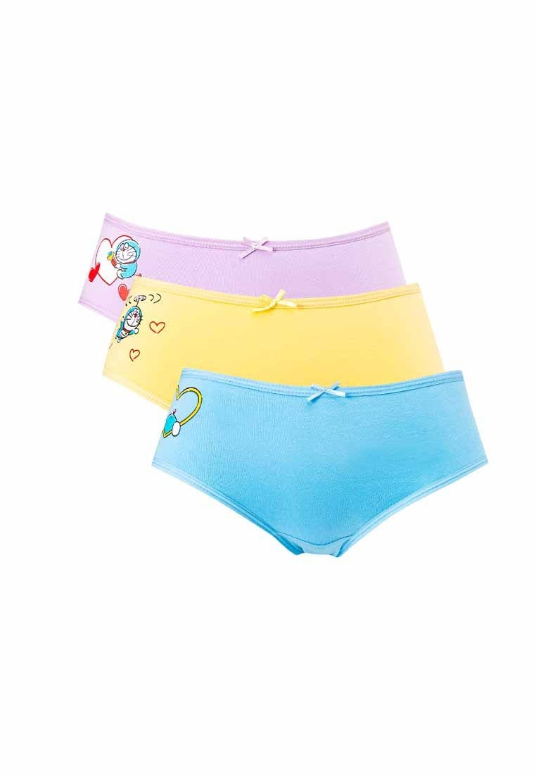 Doraemon Cotton Spandex Midi Briefs ( 3 Pieces ) Assorted Colours - DLD0006D