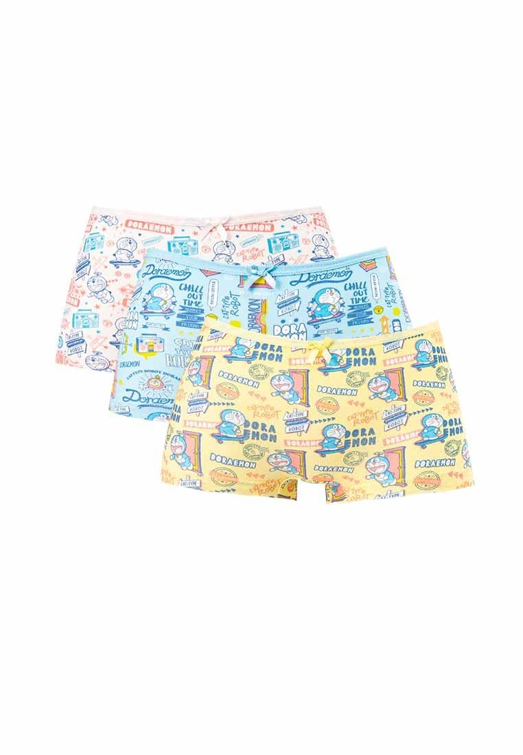Doraemon Cotton Spandex Boy Leg Panties ( 3 Pieces ) Assorted Colours - DLD0013BL