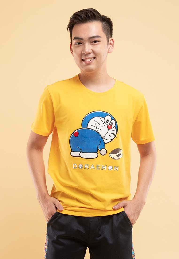 Doraemon Embroidery and Velvet Texture Round Neck Tee - FD20030