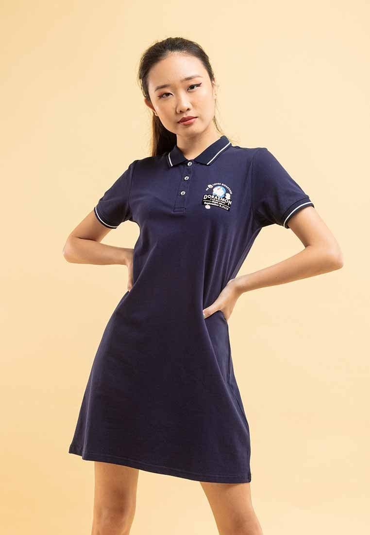 Doraemon Velvet Texture Logo Polo Dress - FD820023
