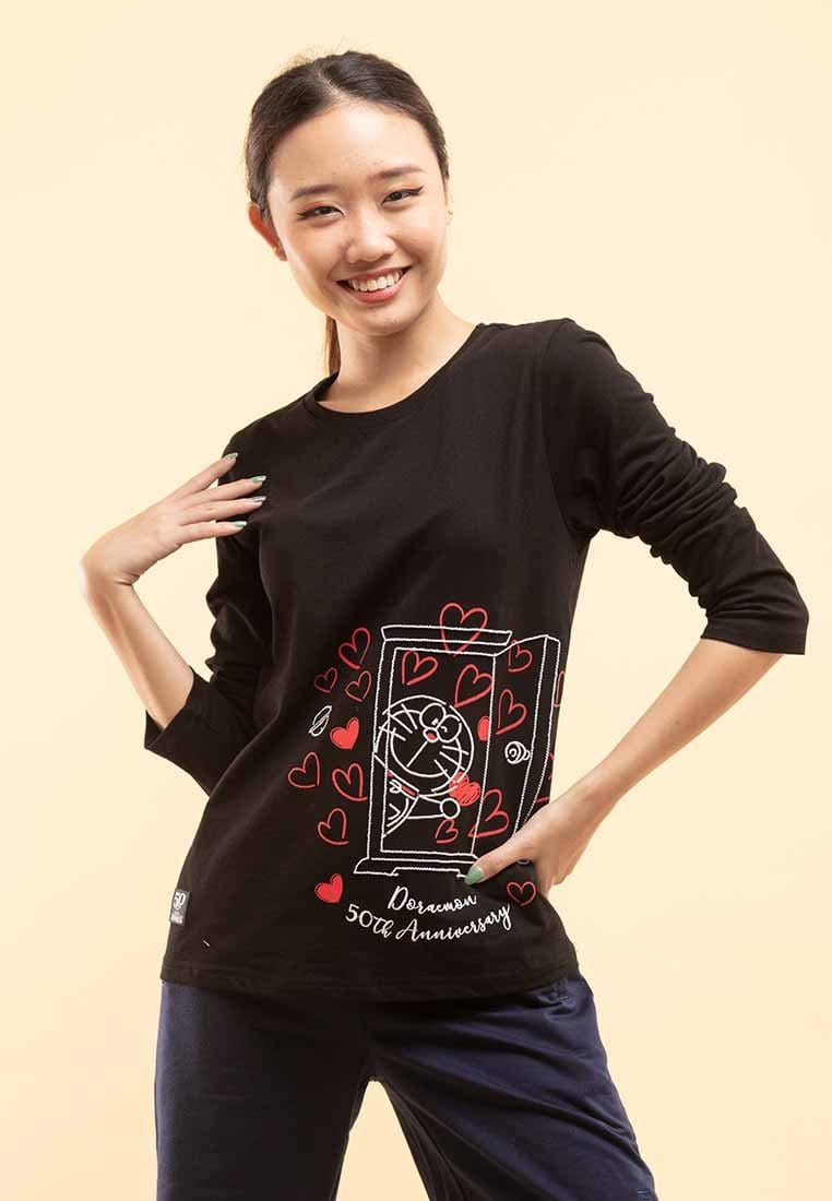 Doraemon 50th Anniversary Love Collection Embossing Long Sleeve Tee - FD820025