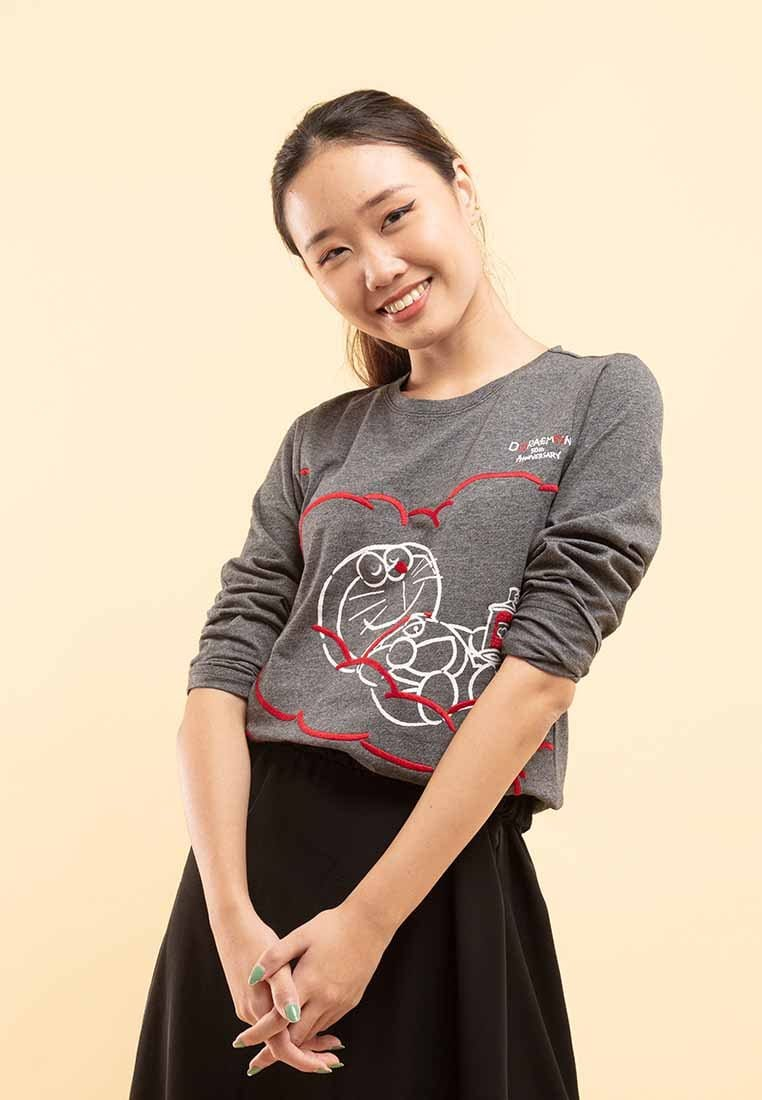 Doraemon 50th Anniversary Love Collection Embossing Long Sleeve Tee - FD820026