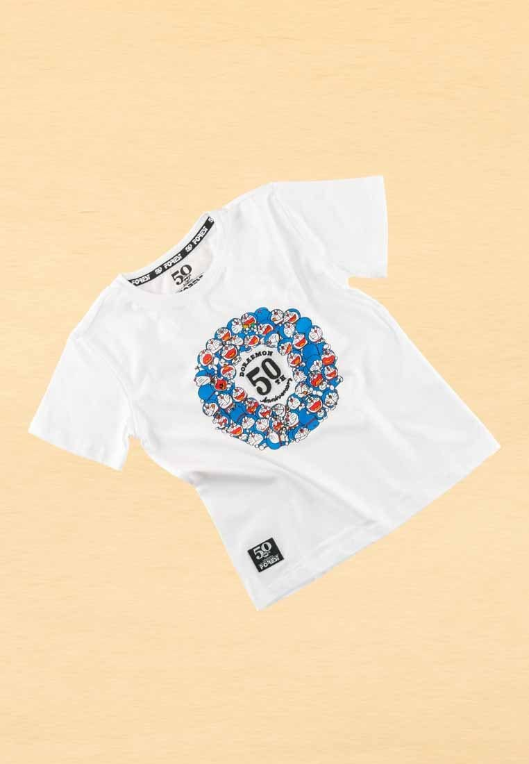 Doraemon 50th Anniversary Embroidered Font With Print Logo Round Neck Tee - FDK2021