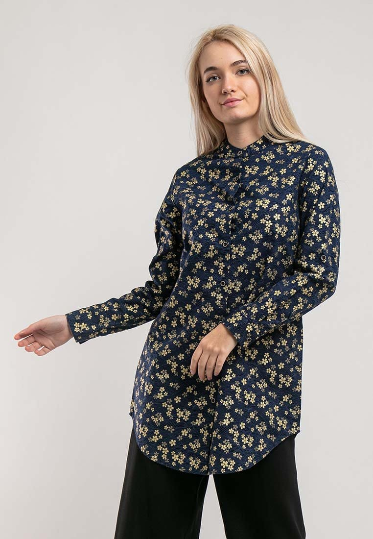 Ladies Woven Long sleeve Mandarin Collar Long Length Shirt - 822019
