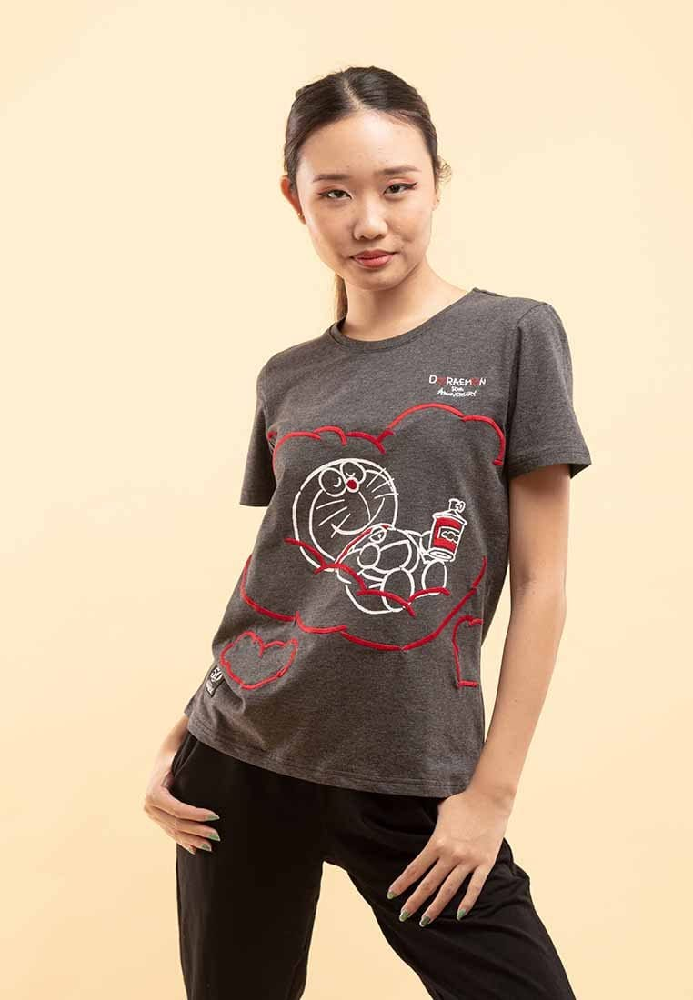 Doraemon 50th Anniversary Love Collection Embossing Round Neck Tee - FD820019