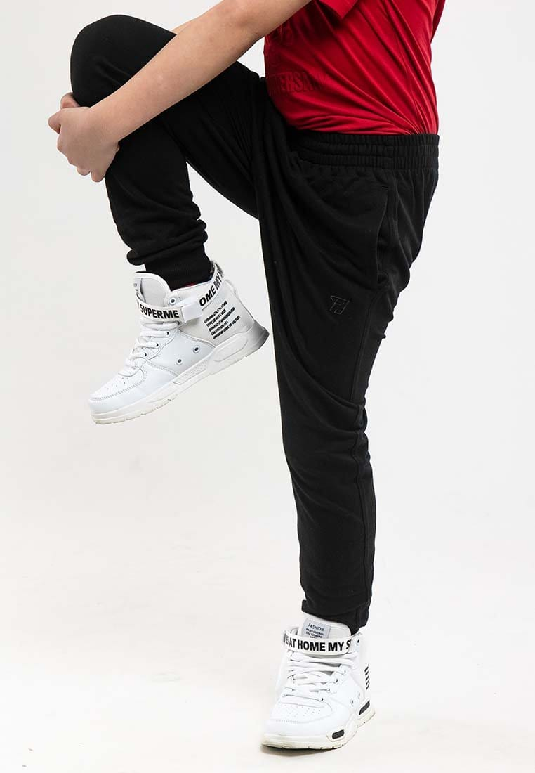 Kids Unisex Plain Elastic Cotton Terry Jogger Long Pants - FK10683