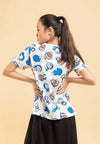 Doraemon 50th Anniversary Full Print with Embroidered Font Round Neck Tee - FD820043