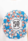Doraemon 50th Anniversary Embroidered Font With Print Logo Round Neck Tee - FD820042