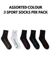 ( 3 Pairs ) Byford Cotton Spandex 3/4 Ankle Length Sport Socks Assorted Colours - BSF1019T