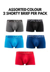 Microfibre Spandex Shorty Brief (2 Pieces) Assorted Colours - BUD5182S