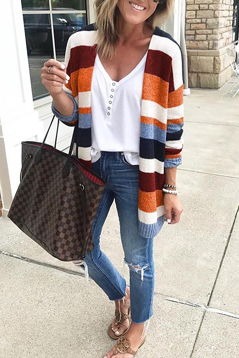Autumn Women's Color Block Striped Loose Long Sleeve Knit Sweaters Coat - SunLify