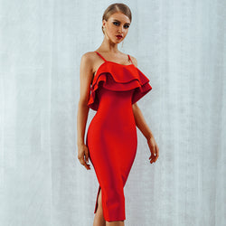 Ruffled sling red dress ruffled dresses for women - SunLify
