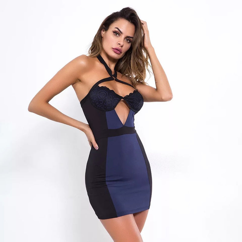 Lace Skinny Bandage Dress Backless Evening Dress - SunLify