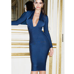 Solid Color Dress Long Sleeve Large V-neck Bandage Dress - SunLify